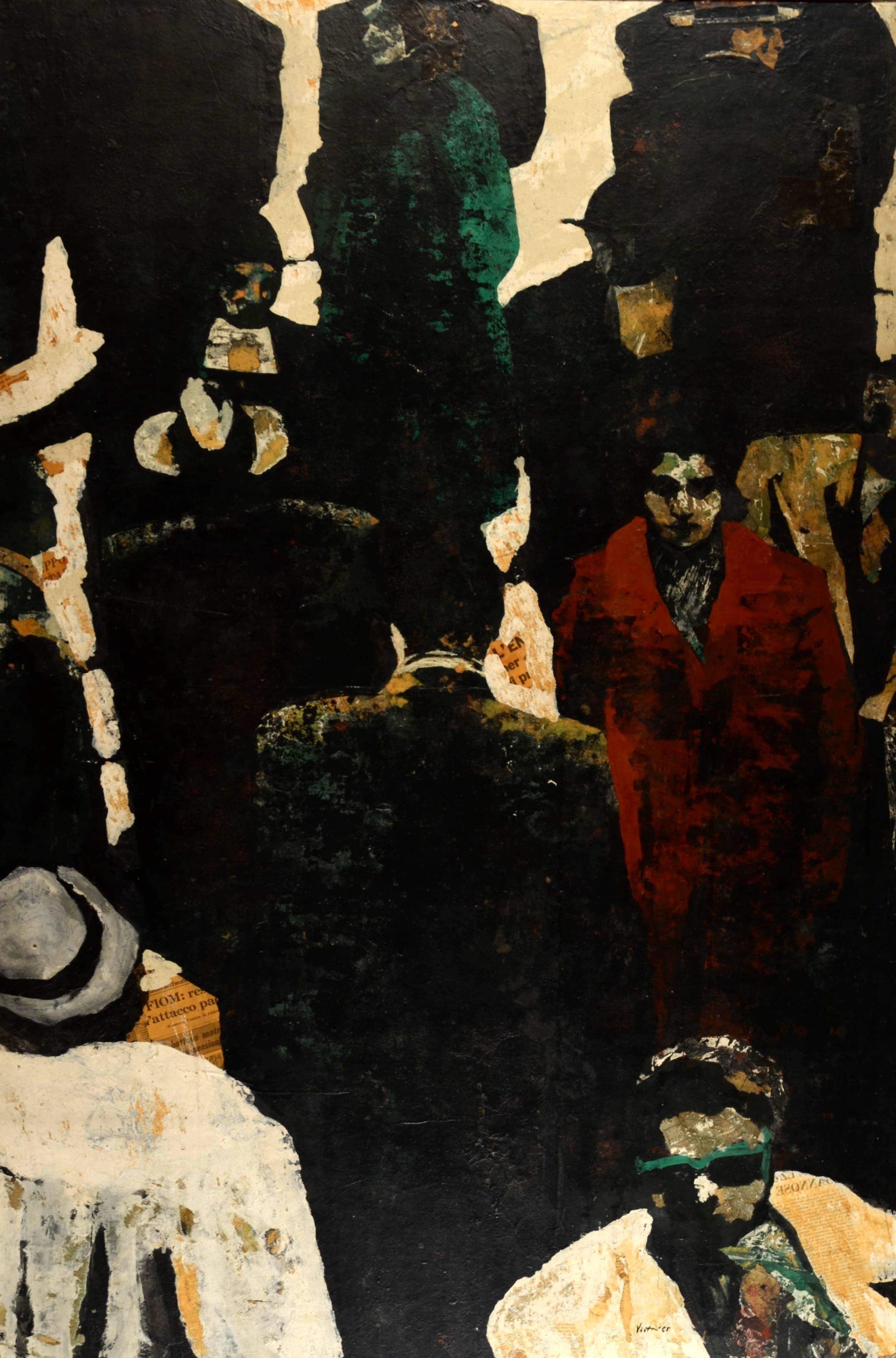 La folla, 1965, tecnica mista su legno, cm 148 x 98-2