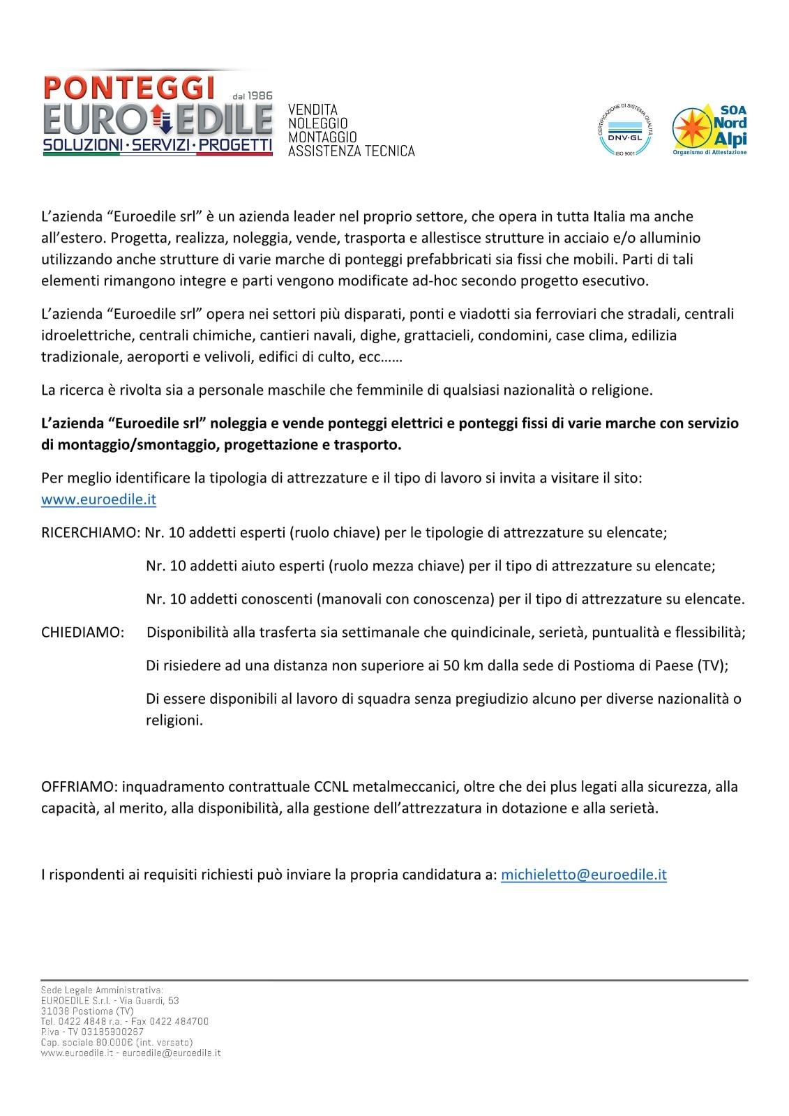 Lettera di ricerca personale postata da Euroedile il giorno gennaio nella propria pagina FB-2