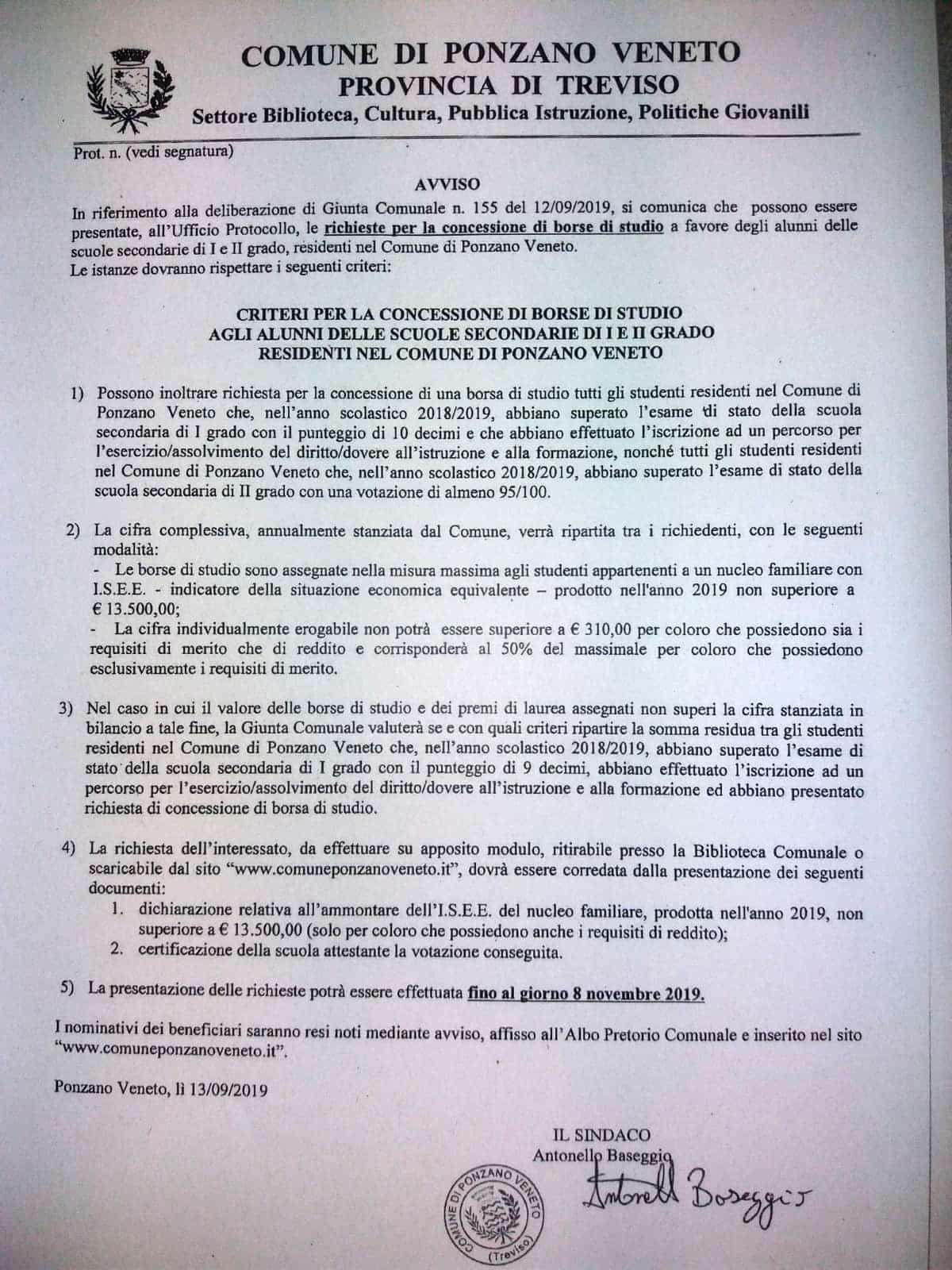 Comune Di Ponzano Veneto borse di studio per studenti e laureati a ponzano veneto