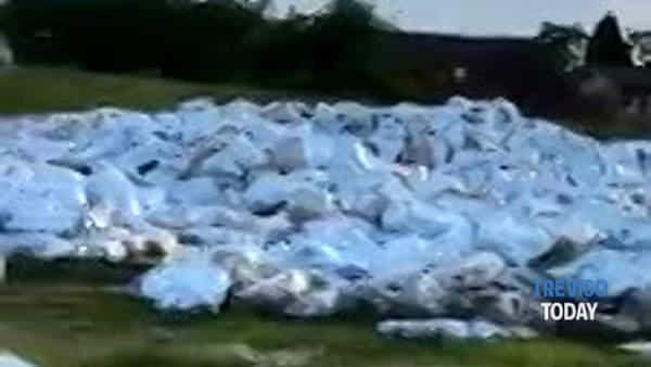 Un mare di sacchi di plastica a due passi dalle sorgenti del Dese